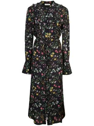 Altuzarra Ruffle Front Floral Midi Shirt Dress