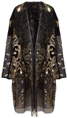 Biyan - Hagar Embroidered Tulle Coat - Womens - Black Gold