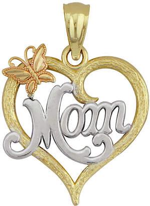 FINE JEWELRY 10K Tri-Tone Gold Mom Heart Pendant