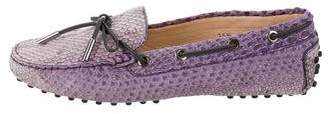 Tod's Snake Round-Toe Loafers