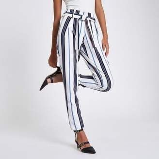River Island White stripe tie waist tapered pants