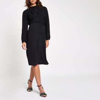 River Island Womens Black wrap waist midi dress
