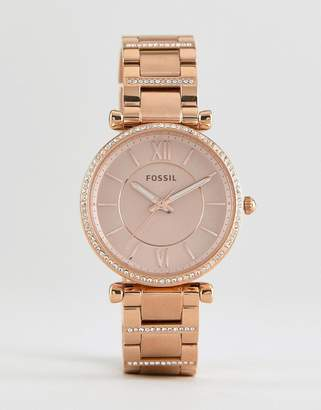 Fossil Es4301 Carlie Bracelet Watch In Rose Gold 35mm