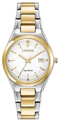 Citizen Watch Silhouette Women's Quartz Watch with White Dial Analogue Display and Silver Stainless Steel Gold Plated Bracelet EW1974-54A