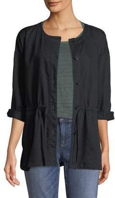Eileen Fisher Round-Neck Organic Cotton Twill Shirttail Jacket, Petite