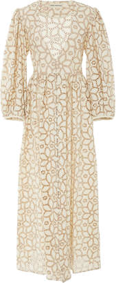 Mara Hoffman Bette Balloon-Sleeve Cotton-Linen Maxi Dress