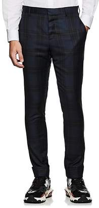 Valentino MEN'S PLAID VIRGIN WOOL SLIM TROUSERS