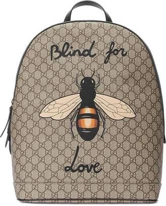 Gucci Bee print GG Supreme backpack