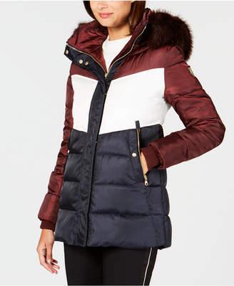 Vince Camuto Faux-Fur-Trim Colorblocked Puffer Coat
