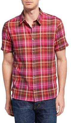 John Varvatos Men's Clyde Short-Sleeve Plaid Sport Shirt