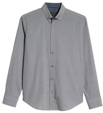 Bugatchi Shaped Fit Mixed Print Sport Shirt