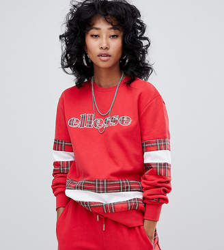 Ellesse Relaxed Sweatshirt With Logo Front And Check Panels Two-Piece