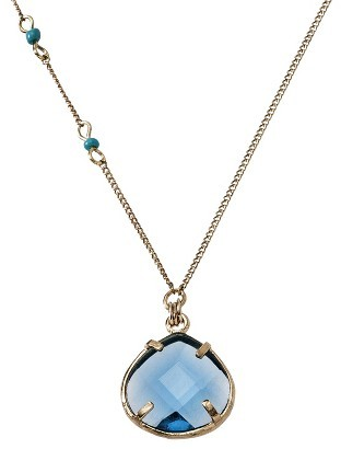"Sequin Women's Long Faceted Pendant Chain Necklace with Simulated Pearls - Gold/Turquoise (39"")"