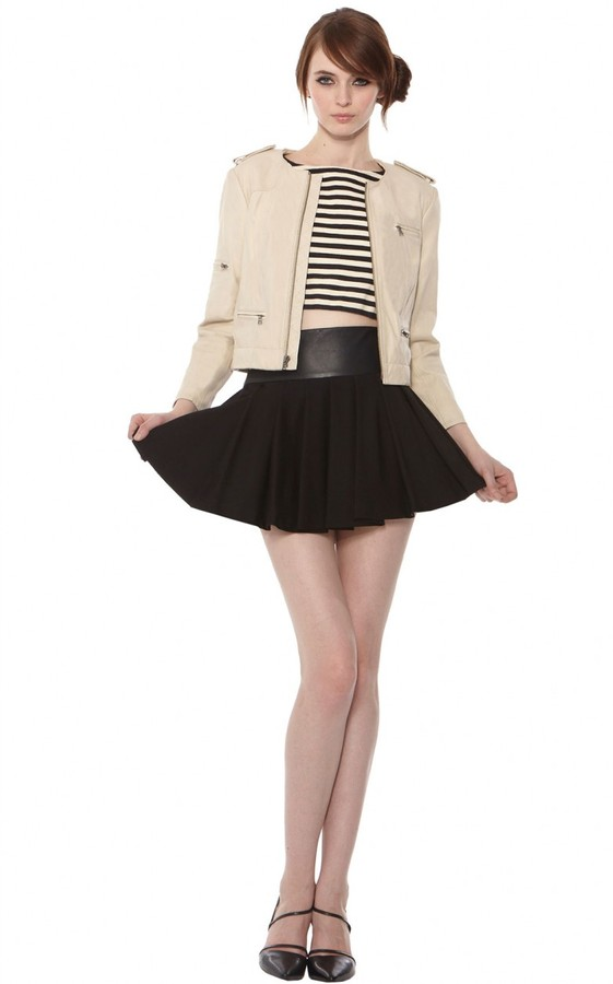 Alice + Olivia Box Pleat Skirt With Leather
