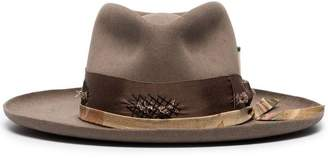 Nick Fouquet taupe brown distressed ribbon embellished fur hat