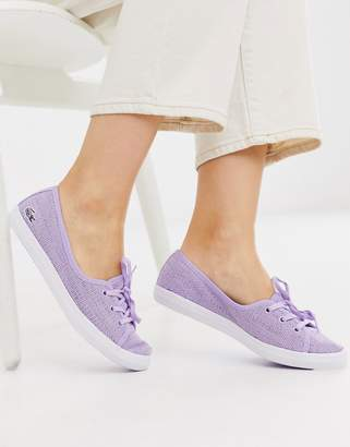 Lacoste slip on trainers in lilac