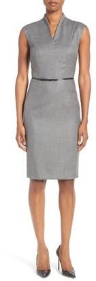 Women's Boss Difena Minidot Belted Wool Blend Sheath Dress $625 thestylecure.com