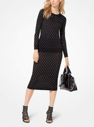 MICHAEL Michael Kors Argyle Studded Stretch-Knit Pencil Skirt