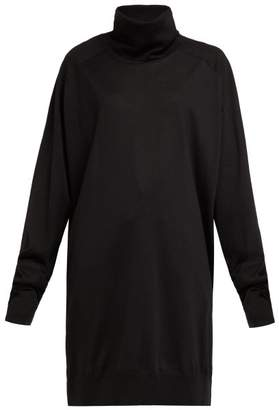 Maison Margiela Oversized Roll Neck Wool Sweater Dress - Womens - Black