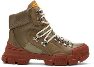 Gucci Khaki and Red Flashtrek Boots