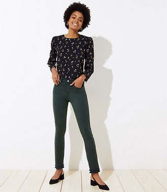 LOFT Modern Double Frayed Skinny Crop Jeans in Dark Green