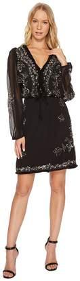 Catherine Malandrino Long Sleeve Beaded Dress w/ Fringe Trim Women's Dress