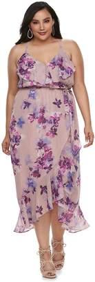 JLO by Jennifer Lopez Plus Size Floral Ruffle Wrap Dress