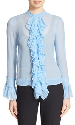 Tracy Reese Ruffle Front Crinkled Silk Georgette Blouse $248 thestylecure.com