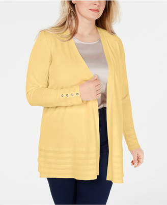 Charter Club Plus Size Pointelle-Trim Completer Cardigan