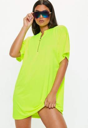 Missguided Neon Yellow Oversized Zip Front T-Shirt Dress