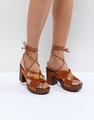 Asos DESIGN Trey Suede Embroidered Heeled Sandals