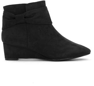 6eccd44c1c4a at Debenhams · Evans Extra Wide Fit Black Bow Wedge Ankle Boots