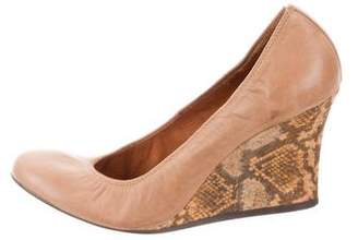 Lanvin Round-Toe Leather Wedges