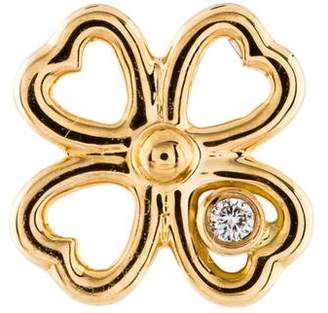 Aurelie Bidermann 18K Diamond Mini Clover Stud Earring