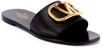 Valentino VLOGO Flat Leather Slide Sandals