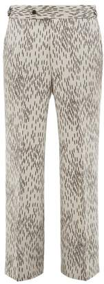 Abstract Print Wool Trousers - Mens - Black White