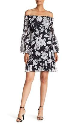 Robbie Bee Off-the-Shoulder Bell Sleeve Floral Lace Dress