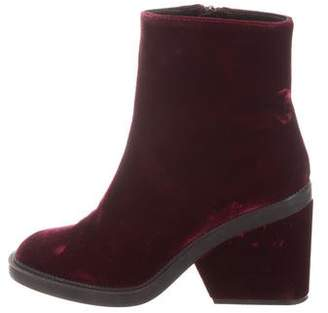 Robert Clergerie Velvet Round-Toe Ankle Boots