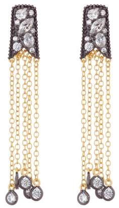Freida Rothman Rose Cut Stone Tassel Earrings