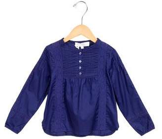 Tartine et Chocolat Girls' Eyelet-Trimmed Gathered-Paneled Top w/ Tags