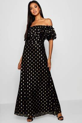 boohoo Metallic Polka Dot Off The Shoulder Maxi Dress