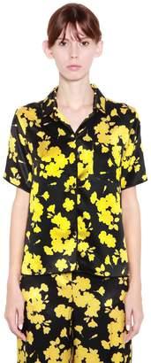 Rochas Floral Print Silk Satin Shirt
