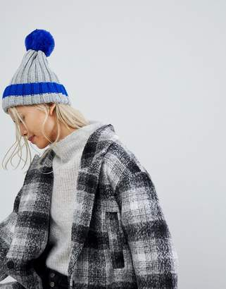 Brave Soul Brave Sould Ribbed Hat with Faux Pom and Contrast Tipping in Electric Blue