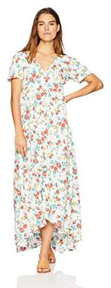 Oasis Wild Beachwear Women's Short Sleeves Floral Printed Maxi Dress with Button Detailing & Slit