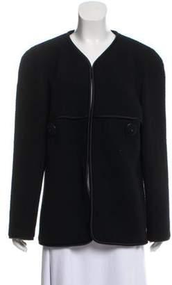 Chanel Wool Collarless Coat Black Wool Collarless Coat