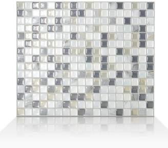 Smart Tiles Mosaik Minimo Noche 11.55 x 9.64 Peel & Stick Wall Tile in White & Gray