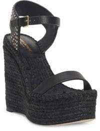 Saint Laurent Studded Leather Platform Wedge Espadrilles