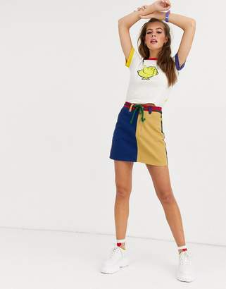 Lazy Oaf x Mr Men contrast panel mr wrong mini skirt