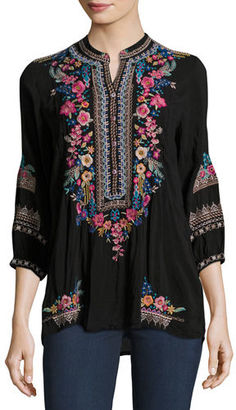 Johnny Was Sarabeth 3/4-Sleeve Georgette Tunic $235 thestylecure.com