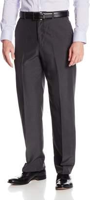 Geoffrey Beene Men's Subtle Plaid Dress Pant with Extender Waist, Charcoal, 34x32